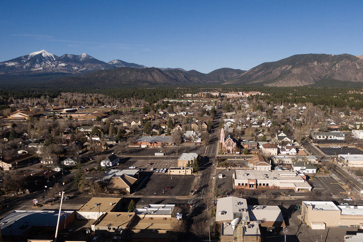 Aerial of downtown Flagstaff